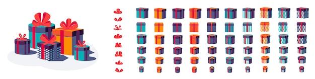 Conjunto de cajas de regalo coloridas con arcos y cintas aisladas sobre fondo blanco. hermosas cajas envueltas y presentes. feliz cumpleaños festivo,