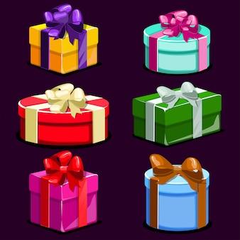 Conjunto de cajas de regalo coloridos dibujos animados