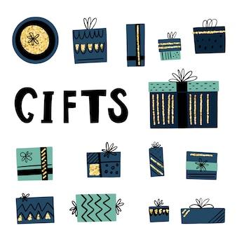 Conjunto de cajas de regalo dibujadas a mano en estilo doodle con textura dorada