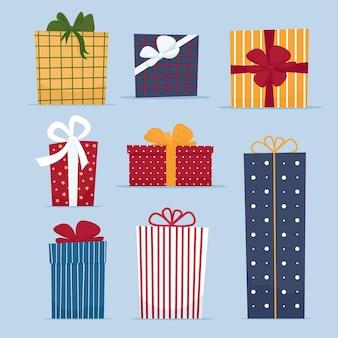 Conjunto de cajas de regalo en ilustración aislada de estilo plano de dibujos animados para saludar año nuevo feliz navidad o tarjeta de feliz cumpleaños o banner de venta