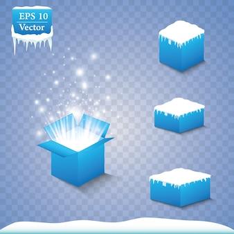 Conjunto de cajas de regalo mágicas sobre un fondo azul, nieve y carámbanos
