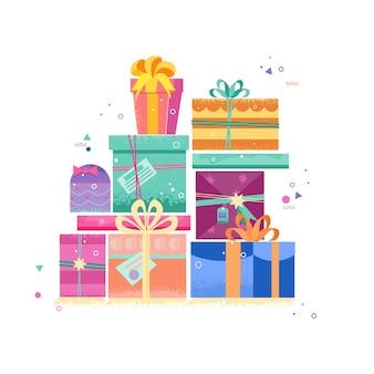 Conjunto de cajas de regalo, regalos, con una decoración brillante de año nuevo.