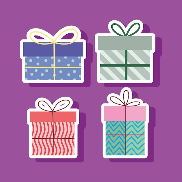 Conjunto de cajas de regalo sorpresa ilustración de vector de fiesta de celebración