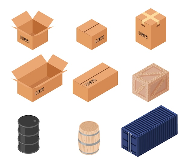 Conjunto de cajas de vector isométrico. cartón, barril y caja de madera, transporte y distribución, almacén y contenedor