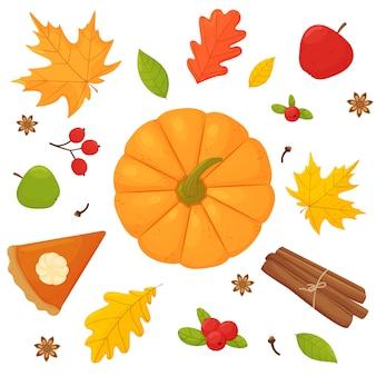 Conjunto calabaza calabaza pastel de calabaza canela arándano clavo de olor anís estrellado y hojas de otoño
