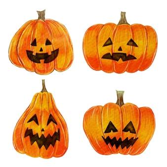 Conjunto de calabaza de halloween en acuarela