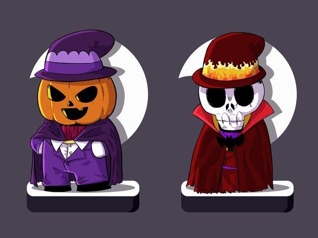 Conjunto de calabaza de halloween y bruja calavera