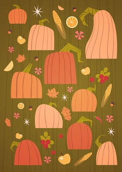 Conjunto calabazas cosecha otoño concepto colección verduras y frutas