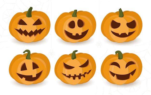 Conjunto de calabazas de halloween con caras divertidas o atemorizantes