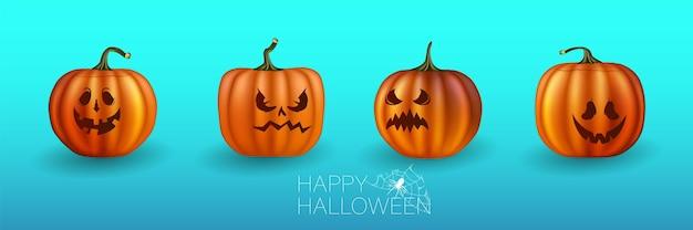 Conjunto de calabazas de halloween, caras divertidas. vacaciones de otoño. ilustración de vector eps10. calabazas amarillas para halloween. expresiones faciales de jack-o-lantern.