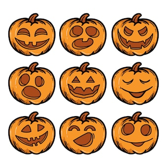 Conjunto de calabazas de halloween dibujadas a mano terrible sonrisa