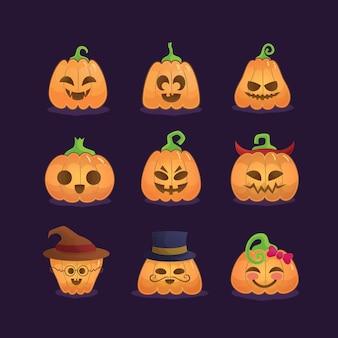 Conjunto de calabazas de halloween con diferentes expresiones