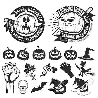 Conjunto de calabazas de halloween y elementos decorativos.