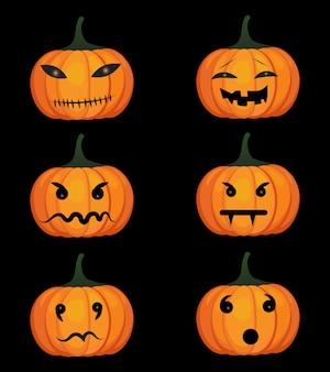 Conjunto de calabazas jack-o-linterna para elementos de diseño de halloween. ilustración del vector.
