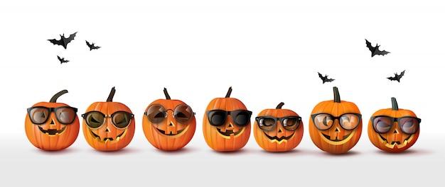 Conjunto de calabazas naranjas de halloween realistas, elementos para la celebración y decoración de la fiesta de halloween de otoño, aislado sobre fondo blanco. ilustración.
