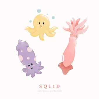 Conjunto de calamar acuarela animales de dibujos animados lindo