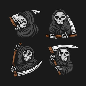 Conjunto de calavera parca con la ilustración del logotipo de la hoz