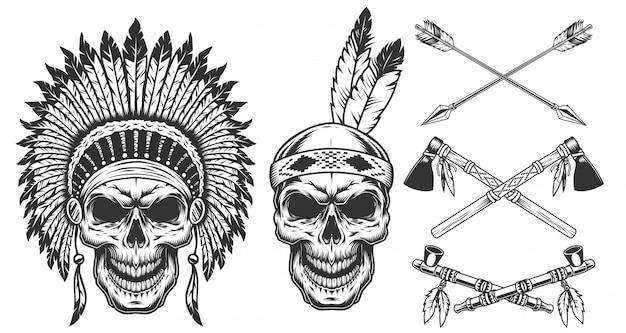 Conjunto de calavera en sombreros indios
