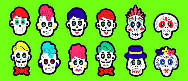 Conjunto de calaveras de dibujos animados de diferentes tipos para diseños de concepto de celebración de halloween y día de muertos