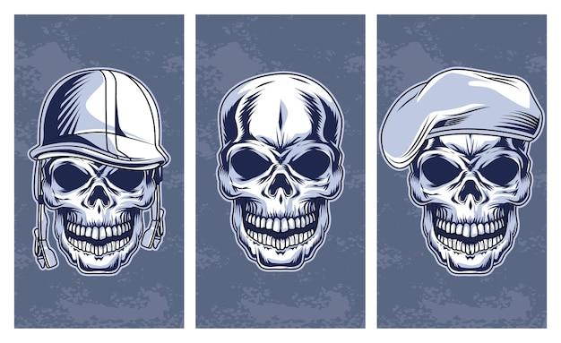 Conjunto de calaveras icono de estilo dibujado