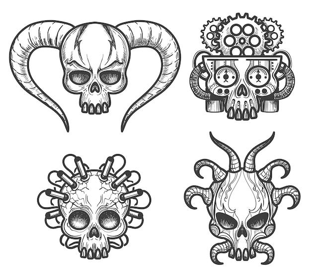 Conjunto de calaveras monstruos dibujados a mano