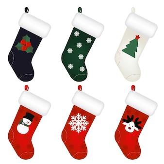 Conjunto de calcetines de año nuevo aislado