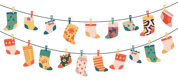 Conjunto de calcetines para niños aislado en blanco
