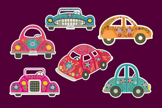 Un conjunto de calcomanías para automóviles