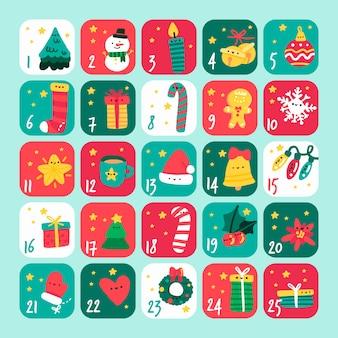 Conjunto de calendario de decoraciones de invierno de navidad
