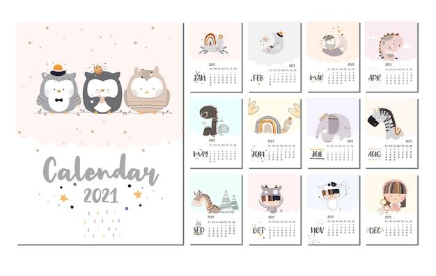 Conjunto de calendario de diseño plano lindo