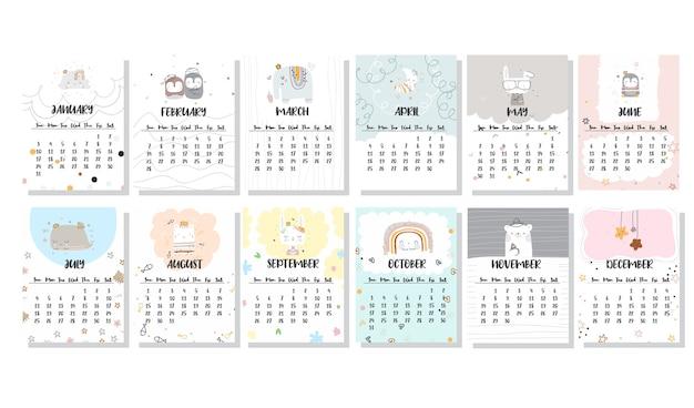 Conjunto de calendario de diseño de plantilla linda plana
