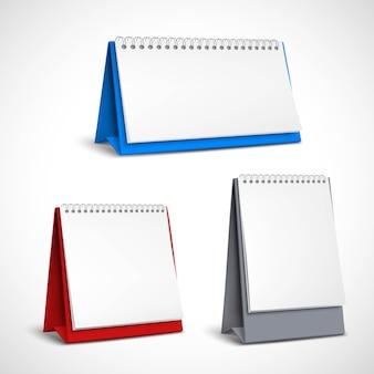 Conjunto de calendarios de espiral de mesa en blanco