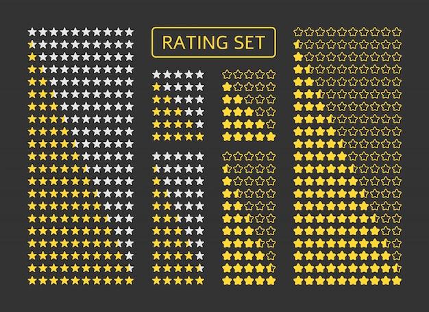 Conjunto de calificación de estrellas amarillas. símbolo de calidad del producto, nivel de juego, revisión del cliente.