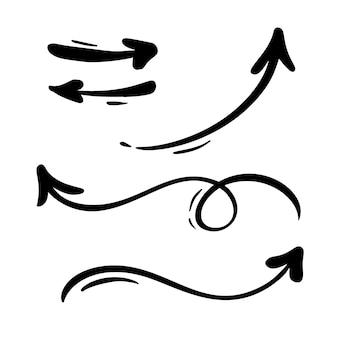 Conjunto de caligrafía florecer flechas decorativas vintage