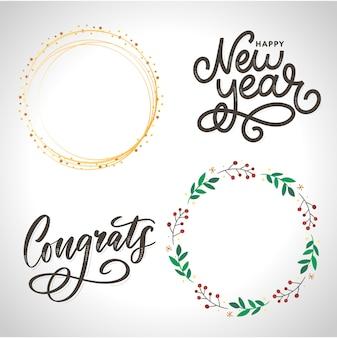 Conjunto de caligrafía de letras de felicitaciones