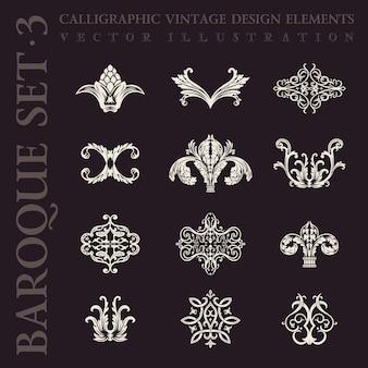 Conjunto caligráfico de elementos vintage barrocos