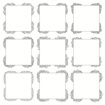 Conjunto caligráfico de marco. bordes esquinas marcos adornados.