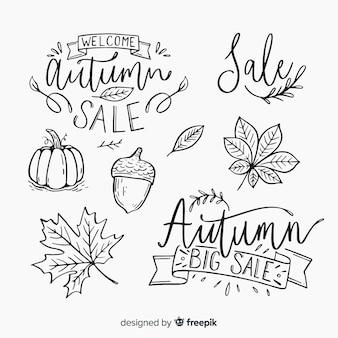 Conjunto caligráfico de otoño escrito a mano