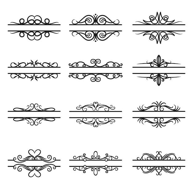 Conjunto caligráfico de varios separadores de texto decorativo.