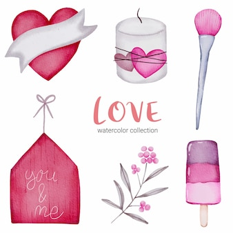 Conjunto de callection de amor, elemento de concepto de san valentín acuarela aislado encantadores corazones rojo-rosa románticos para decoración, ilustración. vector gratuito