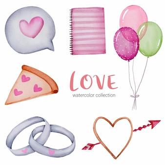 Conjunto de callection de amor, elemento de concepto de san valentín acuarela aislado encantadores corazones rojo-rosa románticos para decoración, ilustración.