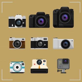 Conjunto de cámara aislado en los iconos de diseño plano de fondo