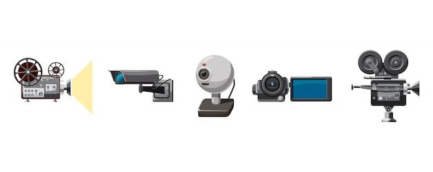 Conjunto de cámara de video. conjunto de dibujos animados de la cámara de vídeo