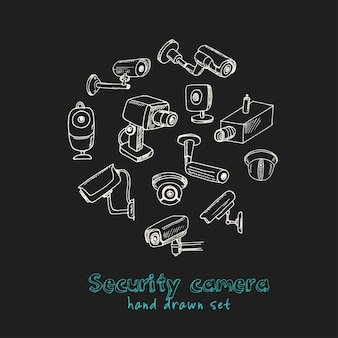 Conjunto de cámaras de seguridad dibujadas a mano