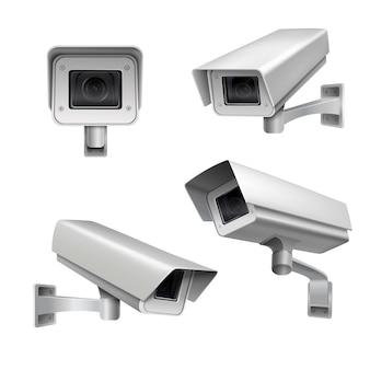 Conjunto de cámaras de vigilancia.