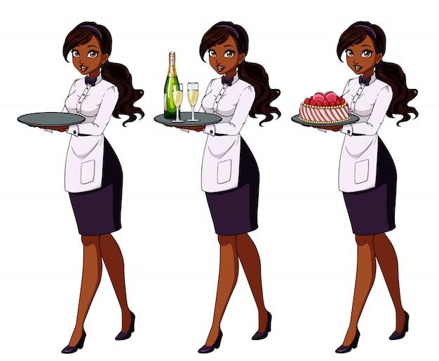 Conjunto de camareras morenas sosteniendo champagne y pastel, vistiendo uniforme morado
