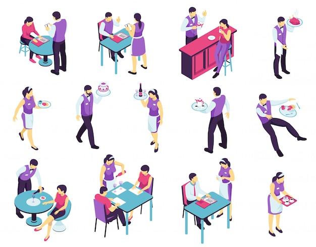 Conjunto de camarero de restaurante isométrico con imágenes aisladas de personas que asisten a personajes de café y camarero en uniforme