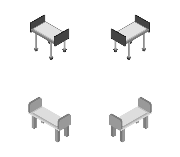 Conjunto de camas de hospital isométricas