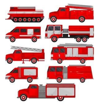 Conjunto de camiones de bomberos, vehículos de emergencia, vista lateral ilustraciones sobre un fondo blanco.