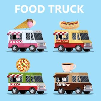 Conjunto de camiones de comida. pizza, helado, hot dog